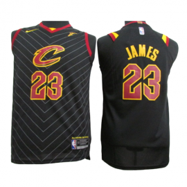 Camiseta LeBron James #23 Cleveland Cavaliers Negro Niño