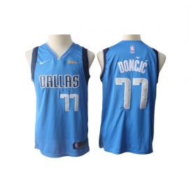 Camiseta Luka Doncic #77 Dallas Mavericks Azul Claro Niño