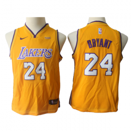 Camiseta Kobe Bryant #24 Los Angeles Lakers Amarillo Niño