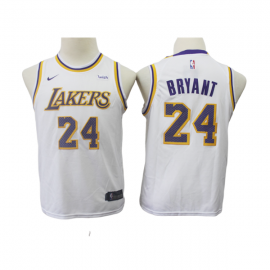 Camiseta Kobe Bryant #24 Los Angeles Lakers Blanco Niño