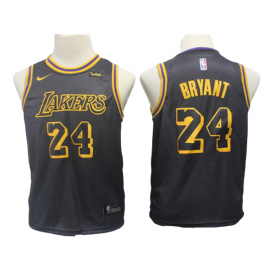 Camiseta Kobe Bryant #24 Los Angeles Lakers Negro City Edition Niño