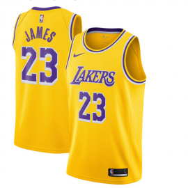 Camiseta LeBron James #23 Los Angeles Lakers 2019 Amarillo Niño