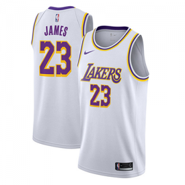 Camiseta LeBron James #23 Los Angeles Lakers 2019 Blanco Niño