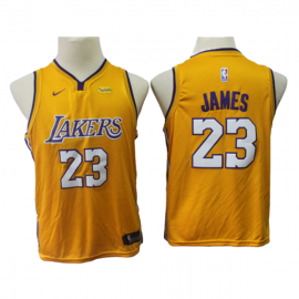 Camiseta LeBron James #23 Los Angeles Lakers Amarillo Niño