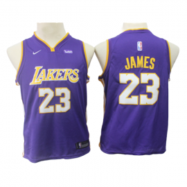Camiseta LeBron James #23 Los Angeles Lakers Purpura Niño