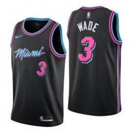 Camiseta Dwyane Wade #3 Miami Heat 18/19 Negro City Edition Niño