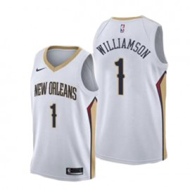Camiseta Zion Williamson #1 New Orleans Pelicans 17/18 Blanco Association Edition Niño