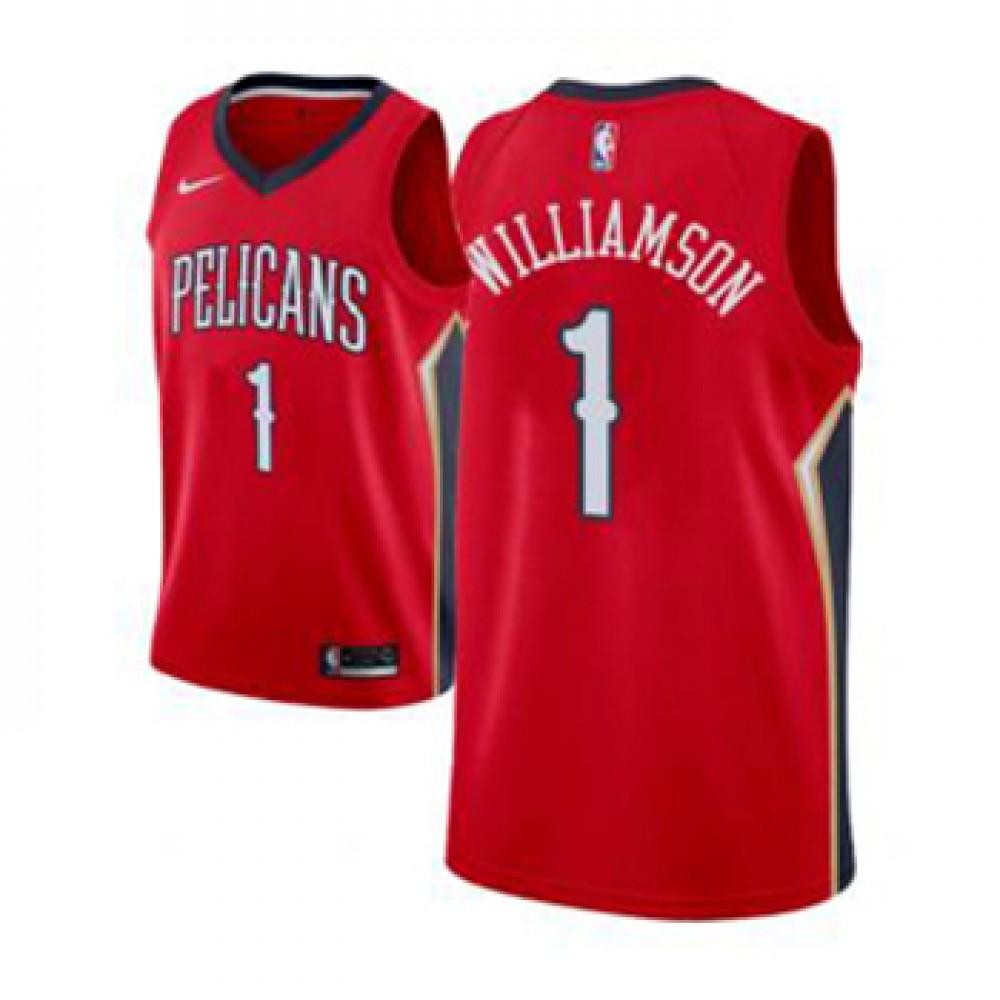 Camiseta Zion Williamson #1 New Orleans Pelicans 17/18 Rojo Statement Edition Niño