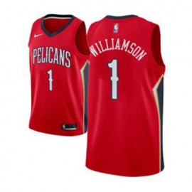 Camiseta Zion Williamson #1 New Orleans Pelicans 17/18 Rojo Statement Edition Niño