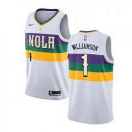 Camiseta Zion Williamson #1 New Orleans Pelicans 18/19 Blanco City Edition Niño