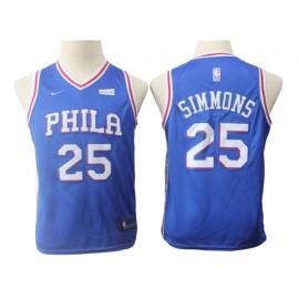 Camiseta Ben Simmons #25 Philadelphia 76ers Azul Fan Edition Niño