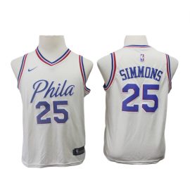 Camiseta Ben Simmons #25 Philadelphia 76ers Beige City Edition Niño
