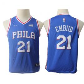 Camiseta Joel Embiid #21 Philadelphia 76ers Azul Niño