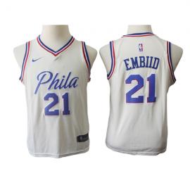 Camiseta Joel Embiid #21 Philadelphia 76ers Beige City Edition Niño