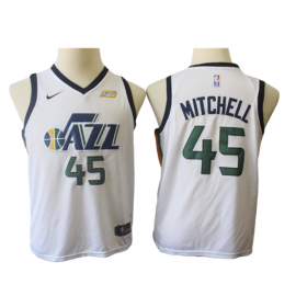 Camiseta Donovan Mitchell #45 Utah Jazz 17/18 Blanco Niño