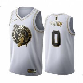 Camiseta Jayson Tatum #0 Boston Celtics Blanco Gold Edition