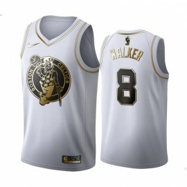 Camiseta Kemba Walker #8 Boston Celtics Blanco Gold Edition