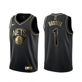 Camiseta D'Angelo Russell #1 Brooklyn Nets Negro Gold Edition