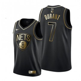 Camiseta Kevin Durant #7 Brooklyn Nets Negro Gold Edition