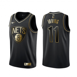 Camiseta Kyrie Irving #11 Brooklyn Nets Negro Gold Edition