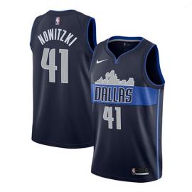 Camiseta Dirk Nowitzki #41 Dallas Mavericks Azul Marino Statement Edition