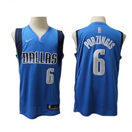 Camiseta Kristaps Porziņģis #6 Dallas Mavericks Azul Claro