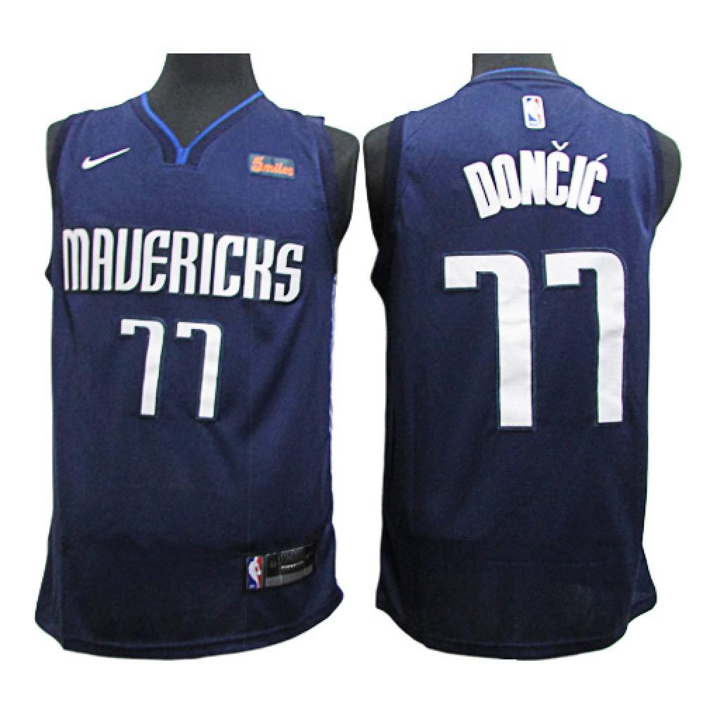 Camiseta Luka Doncic #77 Dallas Mavericks 2020 Azul Oscuro