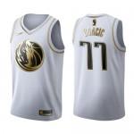 Camiseta Luka Doncic #77 Dallas Mavericks Blanco Gold Edition