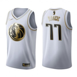 Camiseta Luka Doncic #77 Dallas Mavericks Blanco Gold Edition