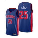 Camiseta Derrick Rose #25 Detroit Pistons Azul Icon Edition