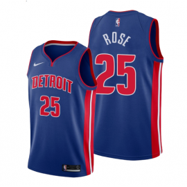 Camiseta Derrick Rose #25 Detroit Pistons Azul Icon Edition