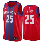 Camiseta Derrick Rose #25 Detroit Pistons Rojo City Edition