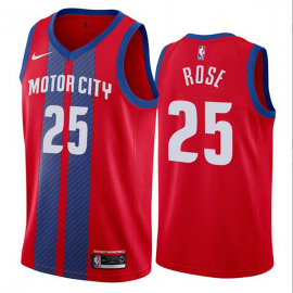 Camiseta Derrick Rose #25 Detroit Pistons Rojo City Edition