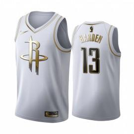 Camiseta James Harden #13 Houston Rockets Blanco Gold Edition