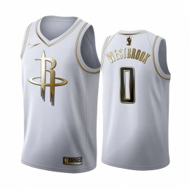 Camiseta Russell Westbrook #0 Houston Rockets Blanco Gold Edition