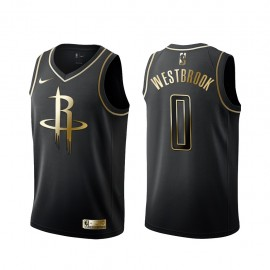 Camiseta Russell Westbrook #0 Houston Rockets Negro Gold Edition