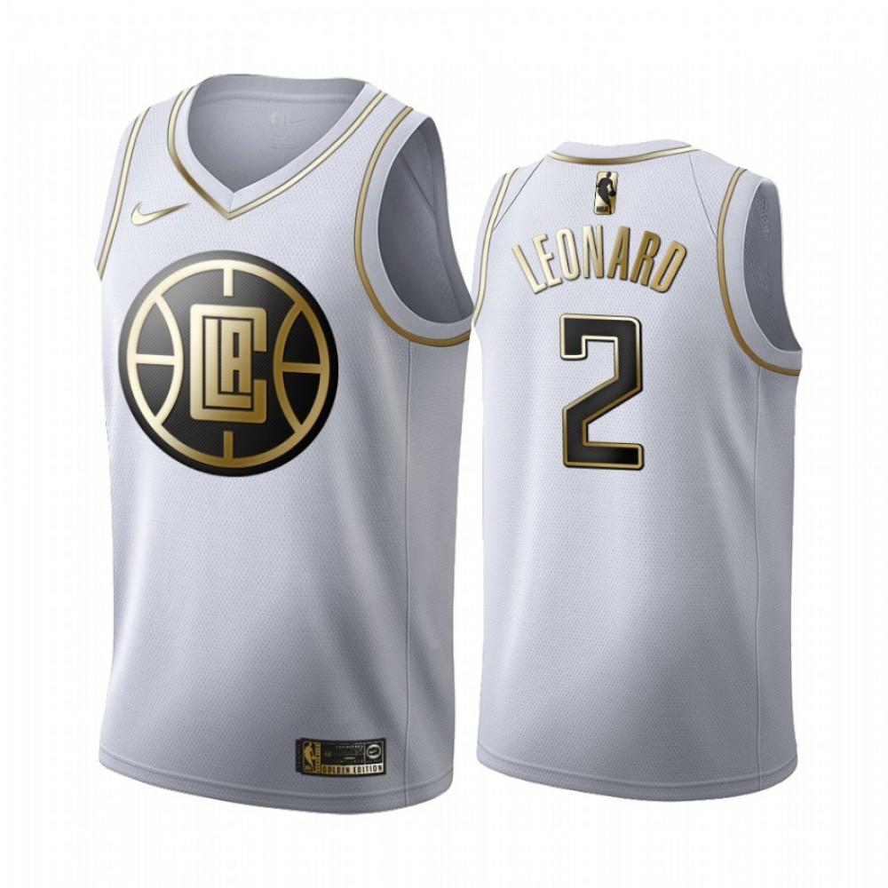 Camiseta Kawhi Leonard #2 Los Angeles Clippers Blanco Gold Edition