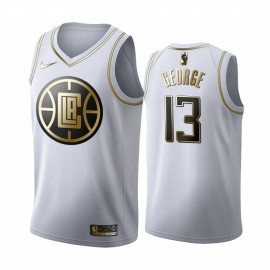 Camiseta Paul George #13 Los Angeles Clippers Blanco Gold Edition