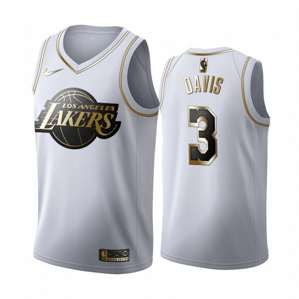 Camiseta Anthony Davis #3 Los Angeles Lakers Blanco Gold Edition