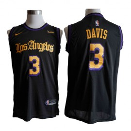 Camiseta Anthony Davis #3 Los Angeles Lakers Negro Latin Edition
