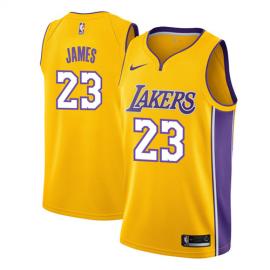 Camiseta LeBron James #23 Los Angeles Lakers Amarillo Icon Edition