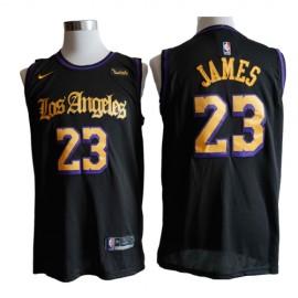 Camiseta LeBron James #23 Los Angeles Lakers Negro Latin Edition
