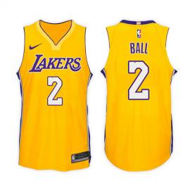 Camiseta Lonzo Ball #2 Los Angeles Lakers Amarillo Icon Edition