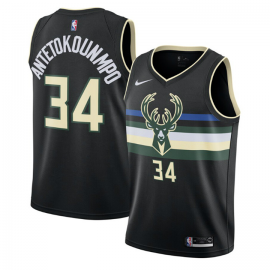Camiseta Giannis Antetokounmpo #34 Milwaukee Bucks 2019/20 Negro Statement Edition