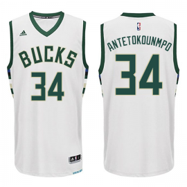 Camiseta Giannis Antetokounmpo #34 Milwaukee Bucks Blanco