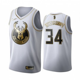 Camiseta Giannis Antetokounmpo #34 Milwaukee Bucks Blanco Gold Edition