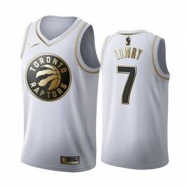 Camiseta Kyle Lowry #7 Toronto Raptors Blanco Gold Edition