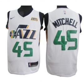 Camiseta Donovan Mitchell #45 Utah Jazz 17/18 Azul Blanco