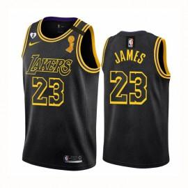 Camiseta LeBron James #23 Los Angeles Lakers 2020 Negro Champion