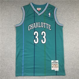 Camiseta Alonzo Mourning #33 Charlotte Hornets 1992/93 Verde Hardwood Classics
